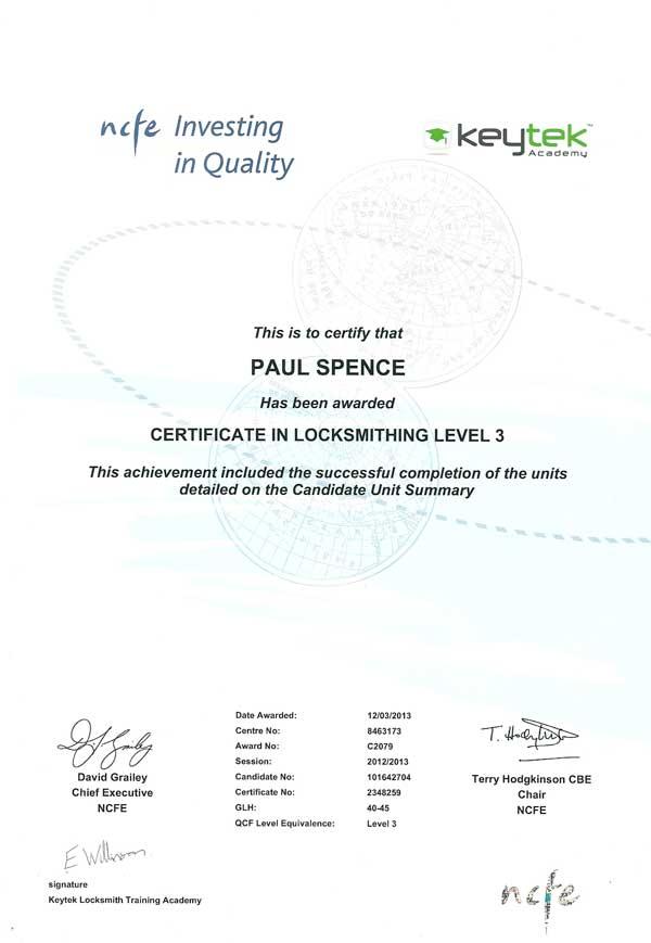 Accreditations Call Paul Locksmith 24 Locksmiths Dbs